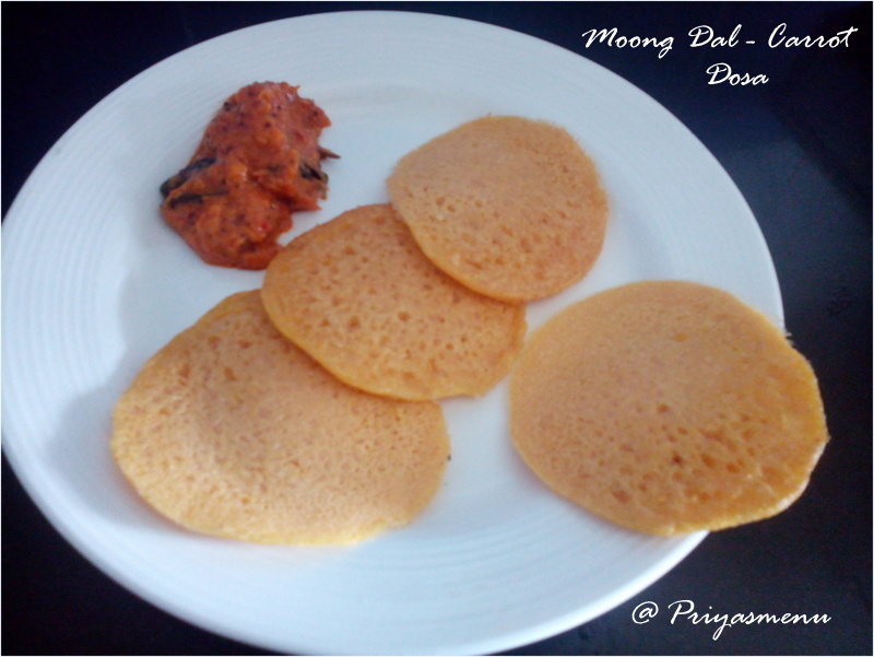 Moong dal Carrot Dosa / Diet Friendly Recipe - 47 / #100dietrecipes