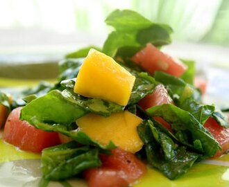 Watermelon, Mango & Spinach Salad