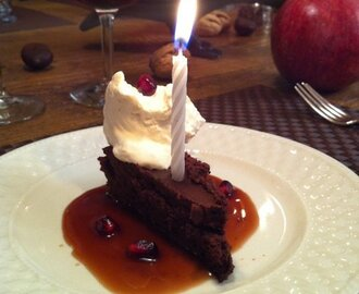 For Chocolate Lovers Only...Flourless Chocolate Cake With Pomegranate Sauce.