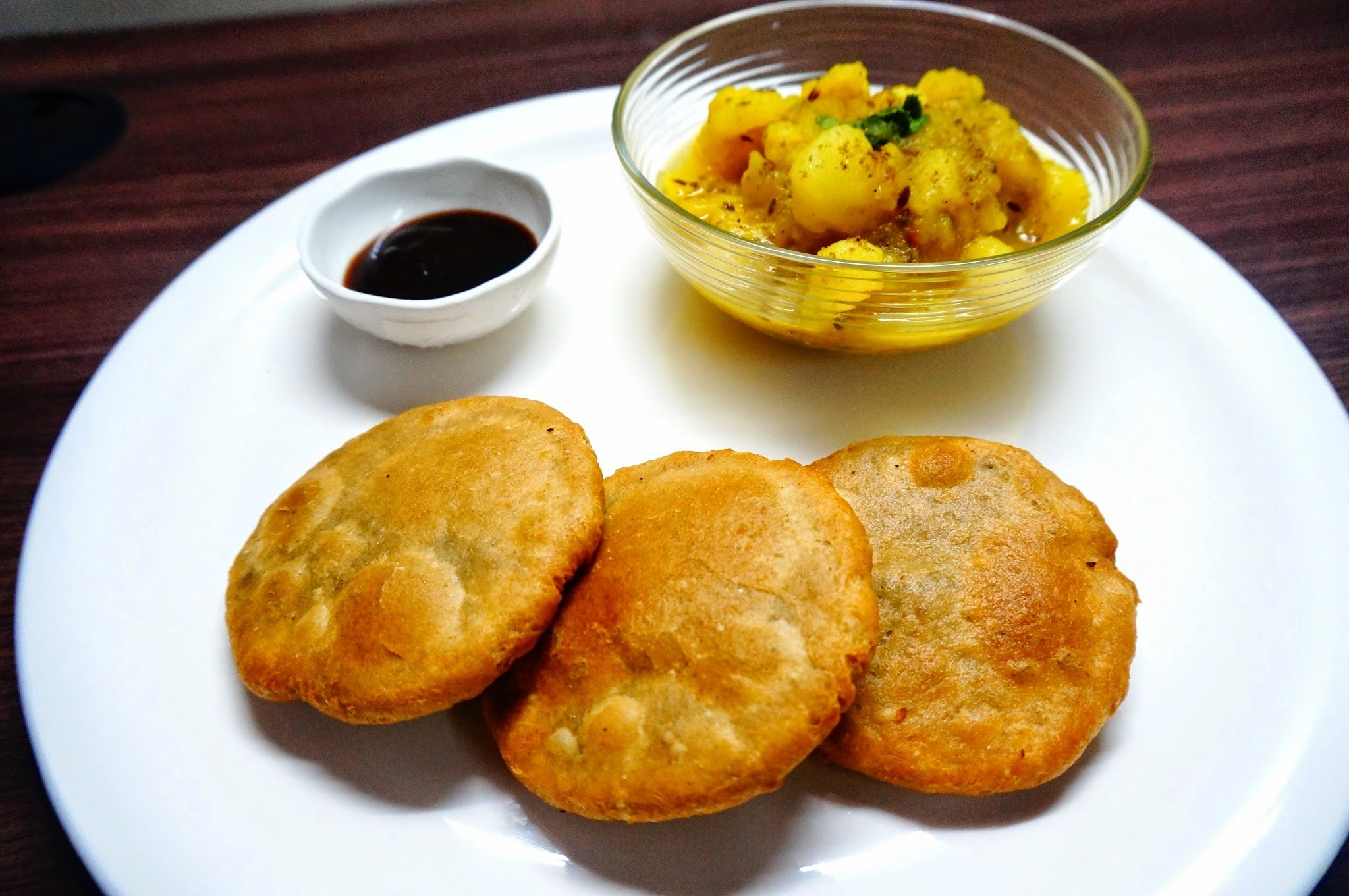 Whole wheat Khasta Kachori with aloo ki sabji