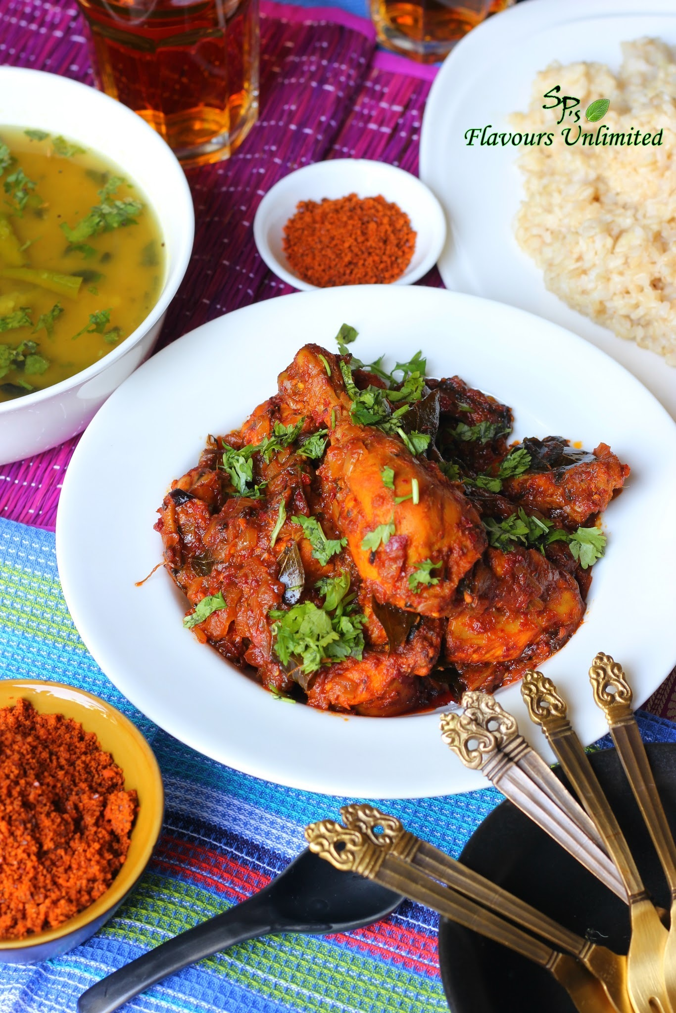 Chicken Ghee Roast served with Dalithoy , Brown Rice and Flax Seeds Chutney Powder - A Pure Country Meal