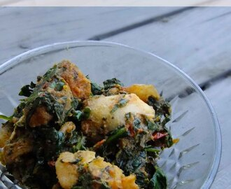 Aloo Palak Tadka – Indian style potato spinach stir fry