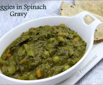 Veggies in Spinach Gravy / Diet Friendly Recipe - 65 / #100dietrecipes