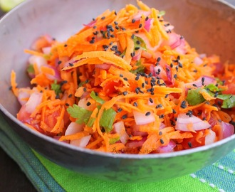 Grated Carrot Salad with Tomato, Onion And Chia Seeds