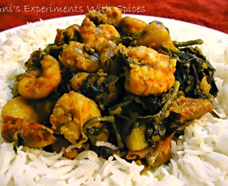 Pui Chingrir Ghonto (Prawns-potato-pumpkin And Malabar Spinach Mishmash)
