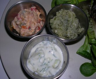 Mint & Onion Chutney, Cucumber & Coriander/Cilantro Raita and Vegetable Raita