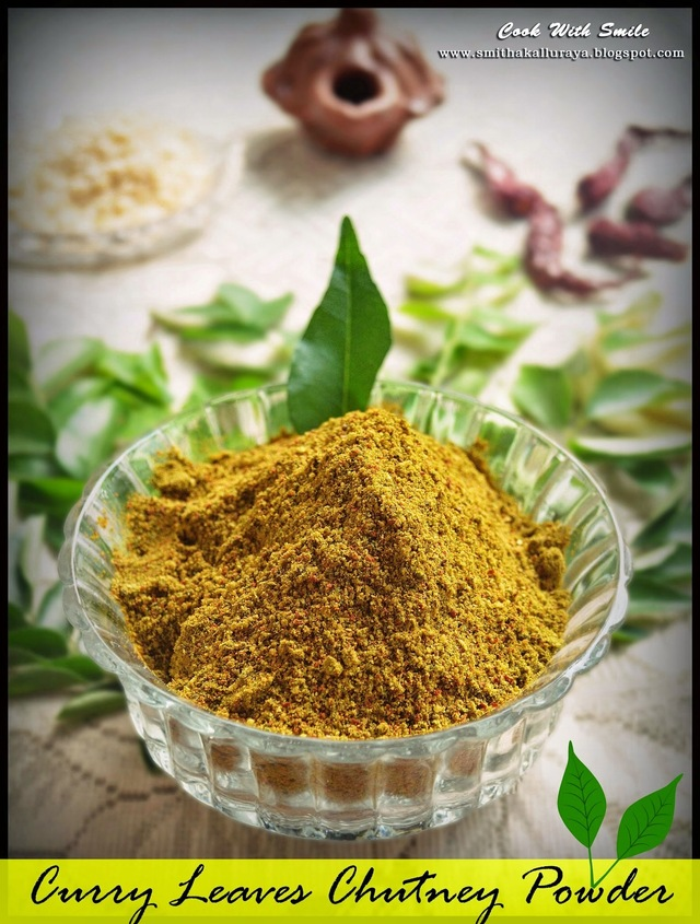 CURRY LEAVES POWDER / KARIBEVU CHUTNEY PUDI / KARUVEPILLAI PODI RECIPE