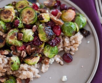 Roasted Brussels Sprouts and Cranberries with Barley