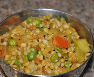 Tempered and Spiced Barley with Potato and Peas