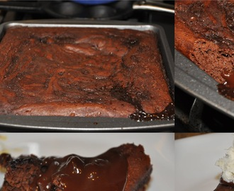 Eggless Gooey Chocolate Pudding Cake
