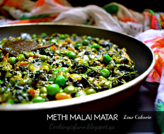 Methi Malai Matar - Dry version (Low calorie)