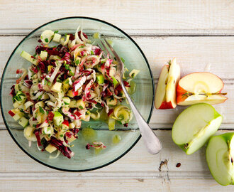 Chopped Salad With Apples Walnuts and Bitter Lettuces