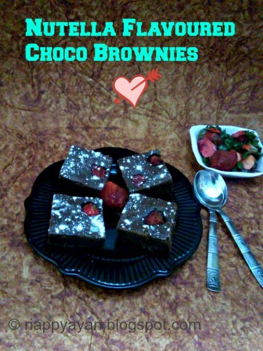 Nutella Flavoured Choco Brownies with Strawberry for Valentines' Day