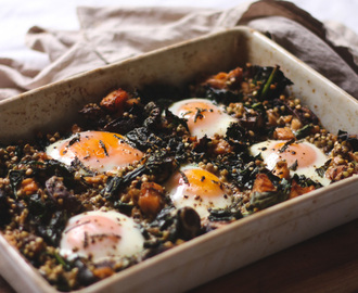 Baked eggs with sprouted buckwheat and smoked salmon