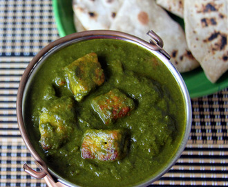 Kutchi Paneer - Paneer in spinach and Chickpea flour sauce - Simple Paneer recipe - No Onion, Garlic recipe