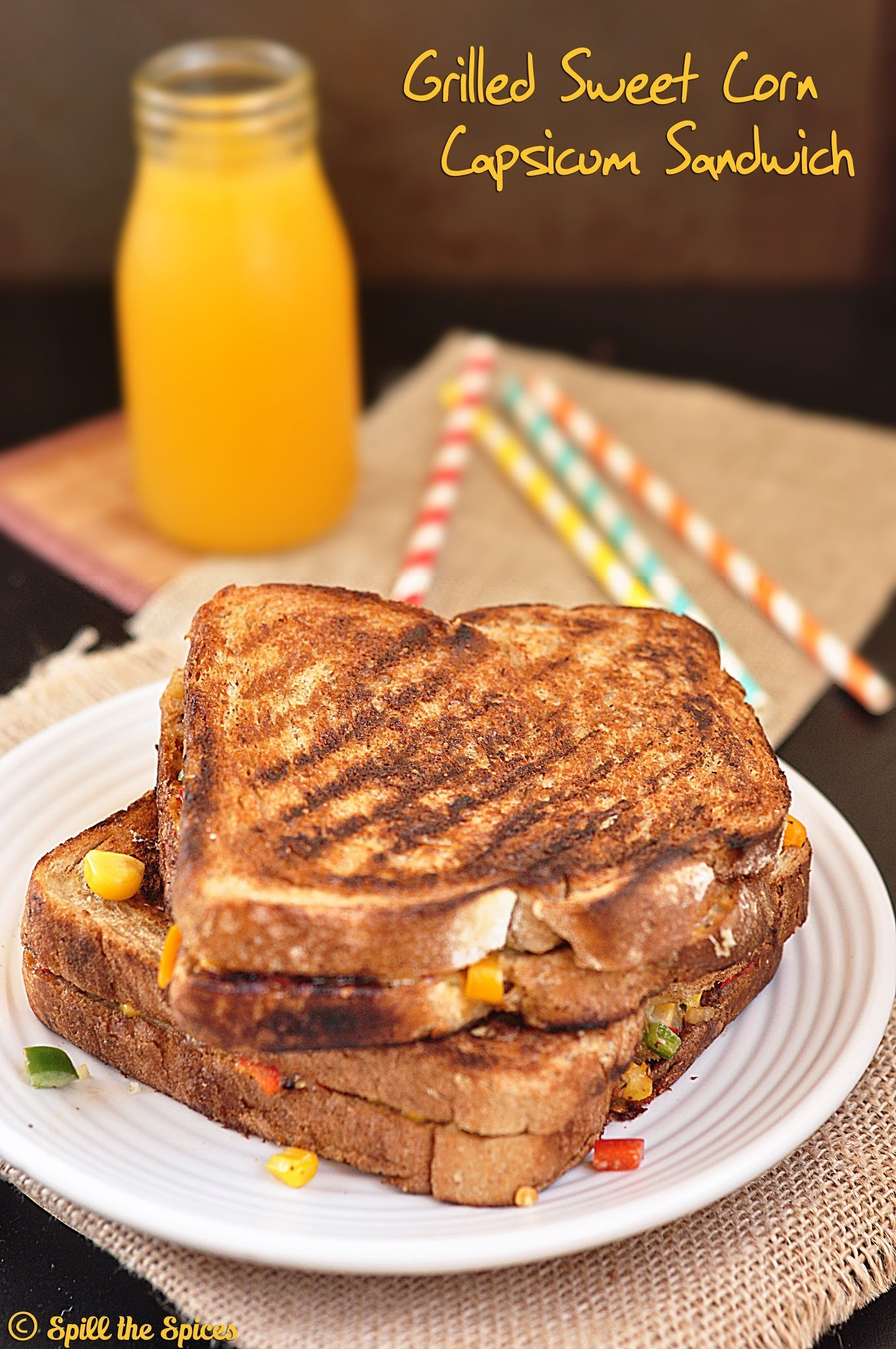 Grilled Sweet Corn Capsicum Sandwich