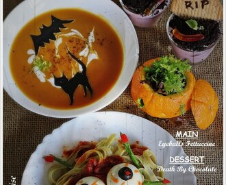 {Halloween Special} Jack O' Lantern, Black Cat Pumpkin Soup, Eyeballs Fettuccine And Death By Chocolate