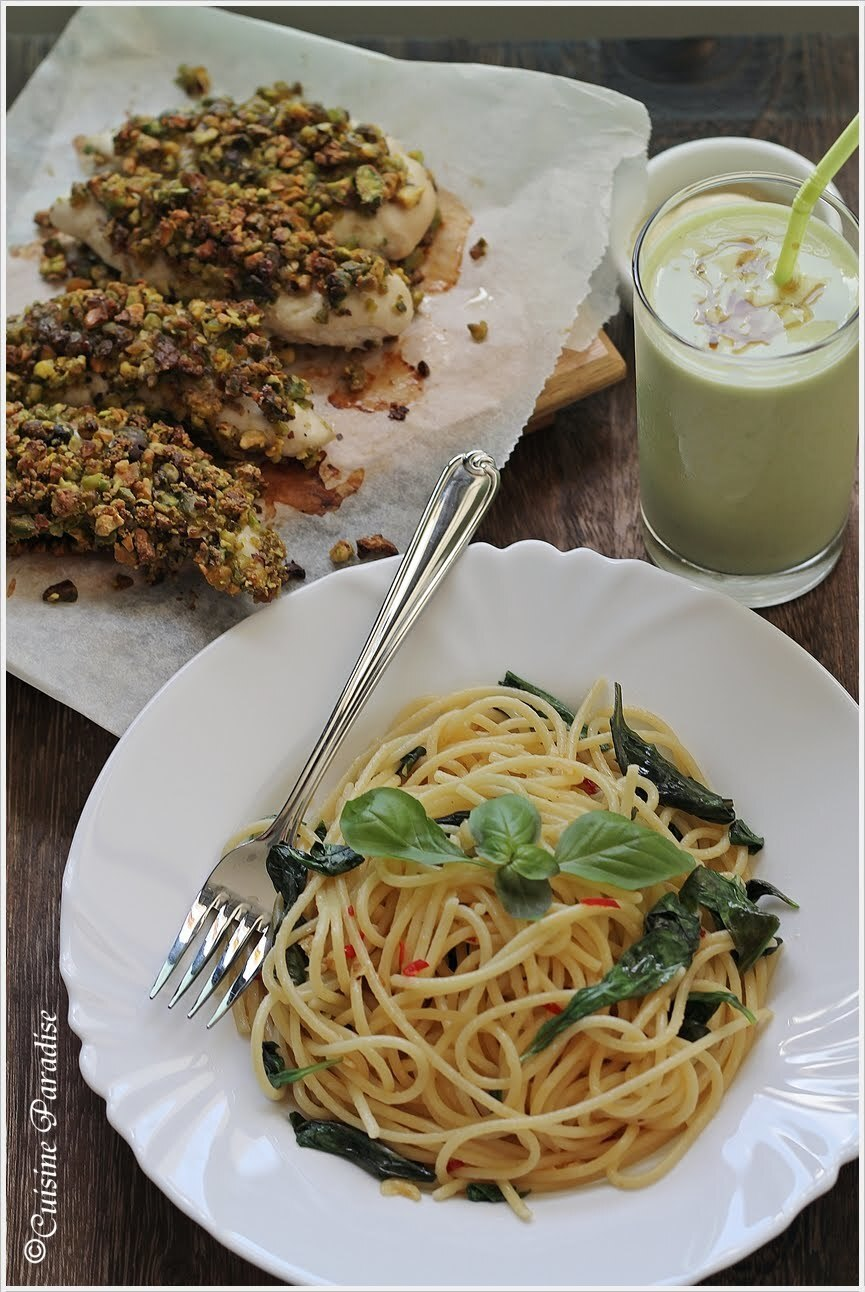 {GO GREEN} Basil, Chilli and Garlic Spaghetti, Pistachio Crumbed Chicken plus Avocado Milkshake