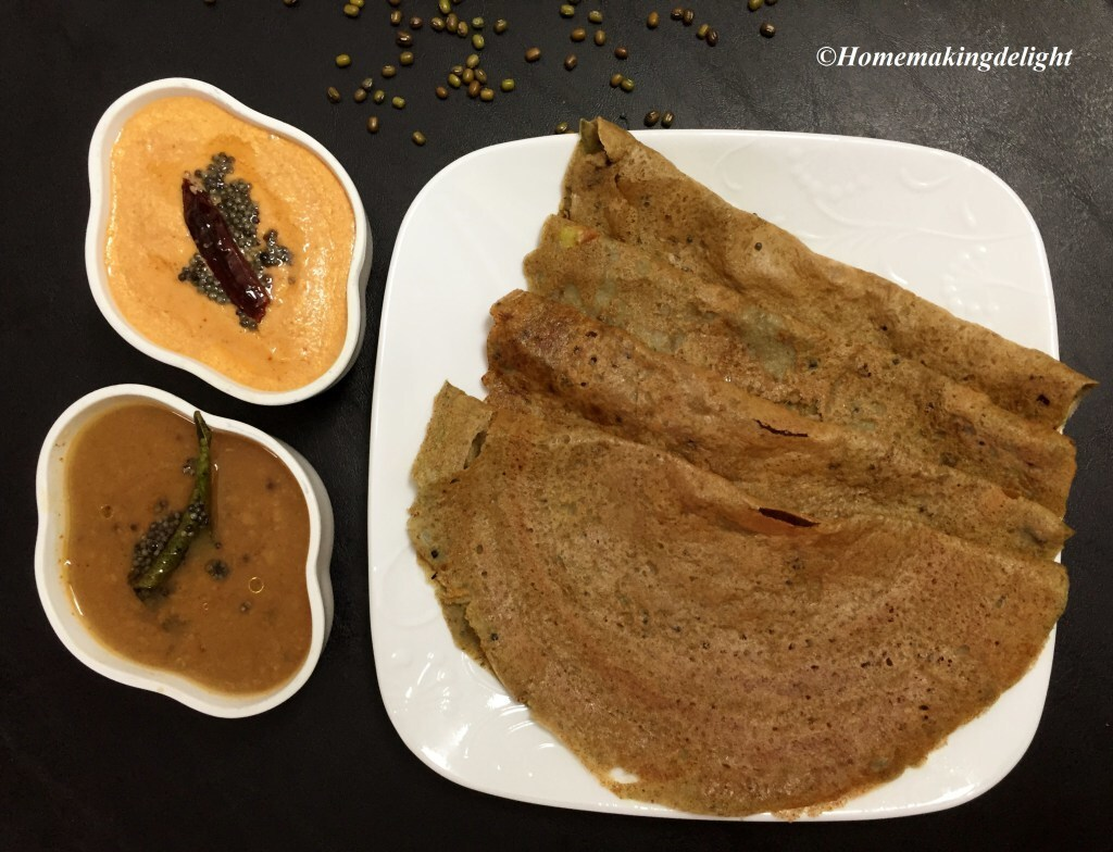 Pachai Payaru Dosa Recipe – Green Gram Dosa without fermentation
