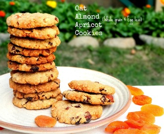 Oat Almond and Apricot Cookies - Whole grain and Egg less
