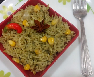 Corn Spinach Pulao Recipe|Corn Palak Pulav Rice
