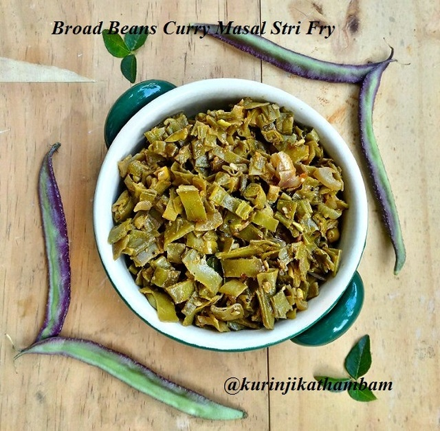 Avaraikkai poriyal / Broad Beans Curry Masala Stir Fry