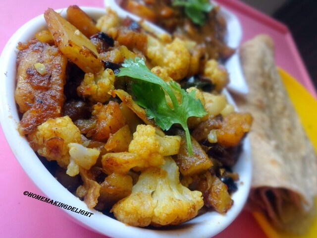 Aloo Gobi Dry Curry Recipe – Potato Cauliflower Sabzi
