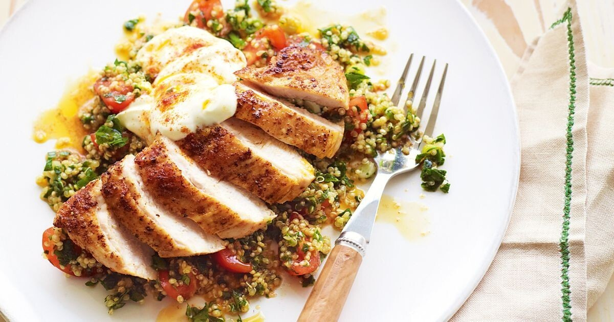 Paprika chicken with quinoa tabbouleh