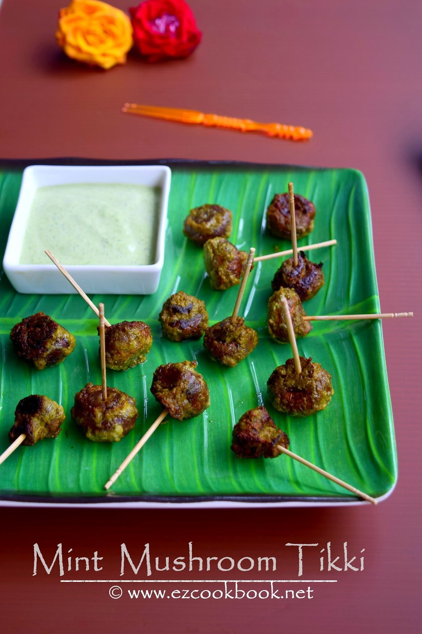 Mint Mushroom Tikki | Healthy Low-Calorie Snack Recipe