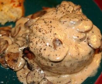 Pan Roast Beef Tenderloin with a Mushroom Cream Sauce