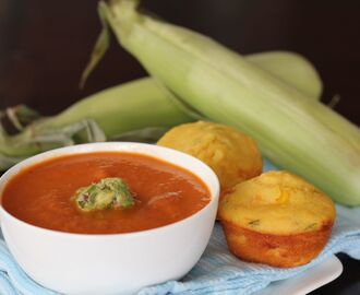 Roasted Tomato Chipotle Soup and Jalapeno Corn Muffins
