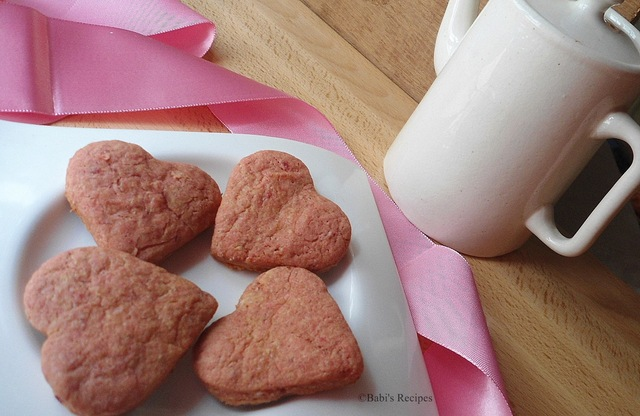 Heart Beet Cookies | Beetroot Cookies | Valentine Day's special | Eggless & Butterless