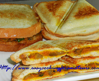 Bread Toast Iyengar Bakery Style/Spicy Onion and Carrot Sandwich