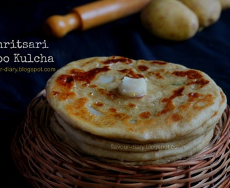 Amritsari Aloo Kulcha - Indian Flat Bread with spicy potato filling