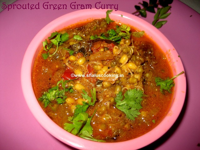 Sprouted Green Gram Curry - Sprouted Moong Beans Curry