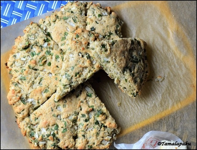 Eggless Savory Spinach-Onion Scones