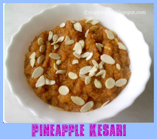 Pineapple Kesari with dalia/broken wheat