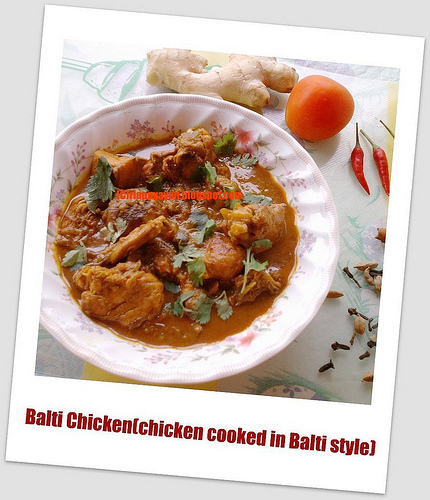 Balti Chicken (Chicken cooked in Balti Style)