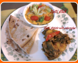 Combo Menu : Balti Dhal with spring onions and tomato AND Balti potato with Aubergine/Eggplant