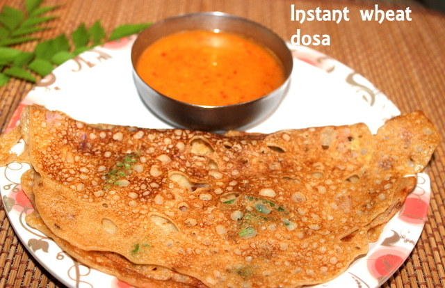 Instant wheat dosa – how to make south indian godhumai dosa recipe – easy breakfast recipes