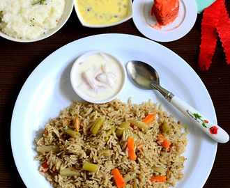Coconut Milk Veg Biryani Recipe/Thengai Paal Biryani-Sunday Lunch Recipes-6