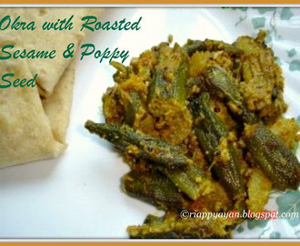 Okra/Bhindi with roasted sesame and poppy seed
