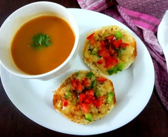 Tomato Soup with Cheese toast ~ Easy Colourful dishes for Kids