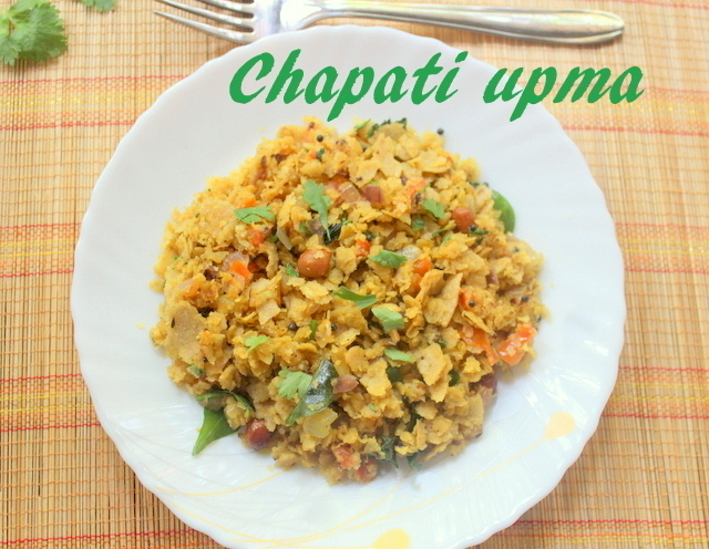 Chapathi upma or phodnichi poli recipe – how to make chapati or roti upma recipe – snacks/breakfast recipes