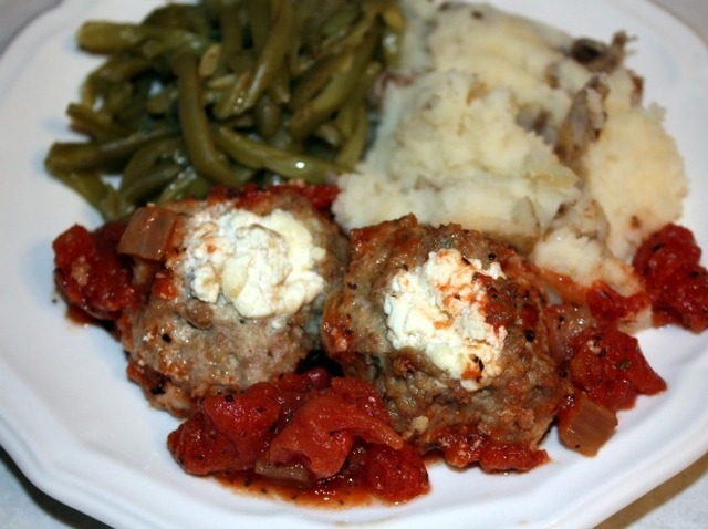 Goat Cheese Stuffed Turkey Meatballs