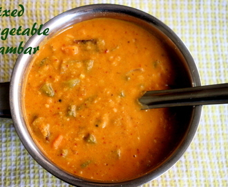 Mixed vegetable sambar recipe – how to make south indian mixed vegetable sambar recipe