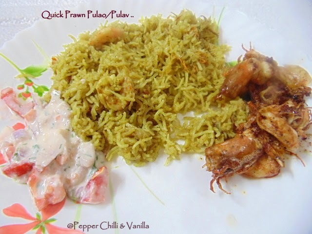 Quick Prawn Pulao/Pulav ..Pressure Cooker Method