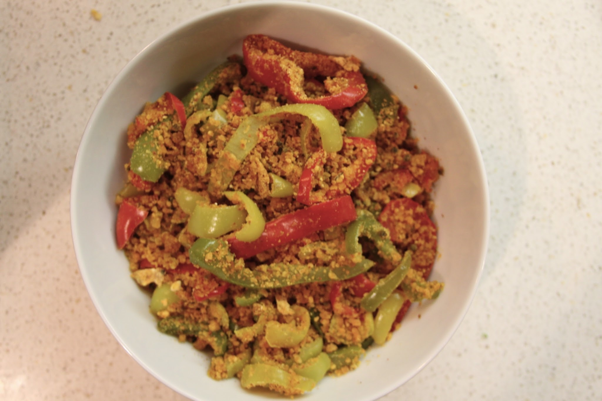 Bell Pepper sabzi with Chick peak flour (besan) :: Meatless Masala Monday
