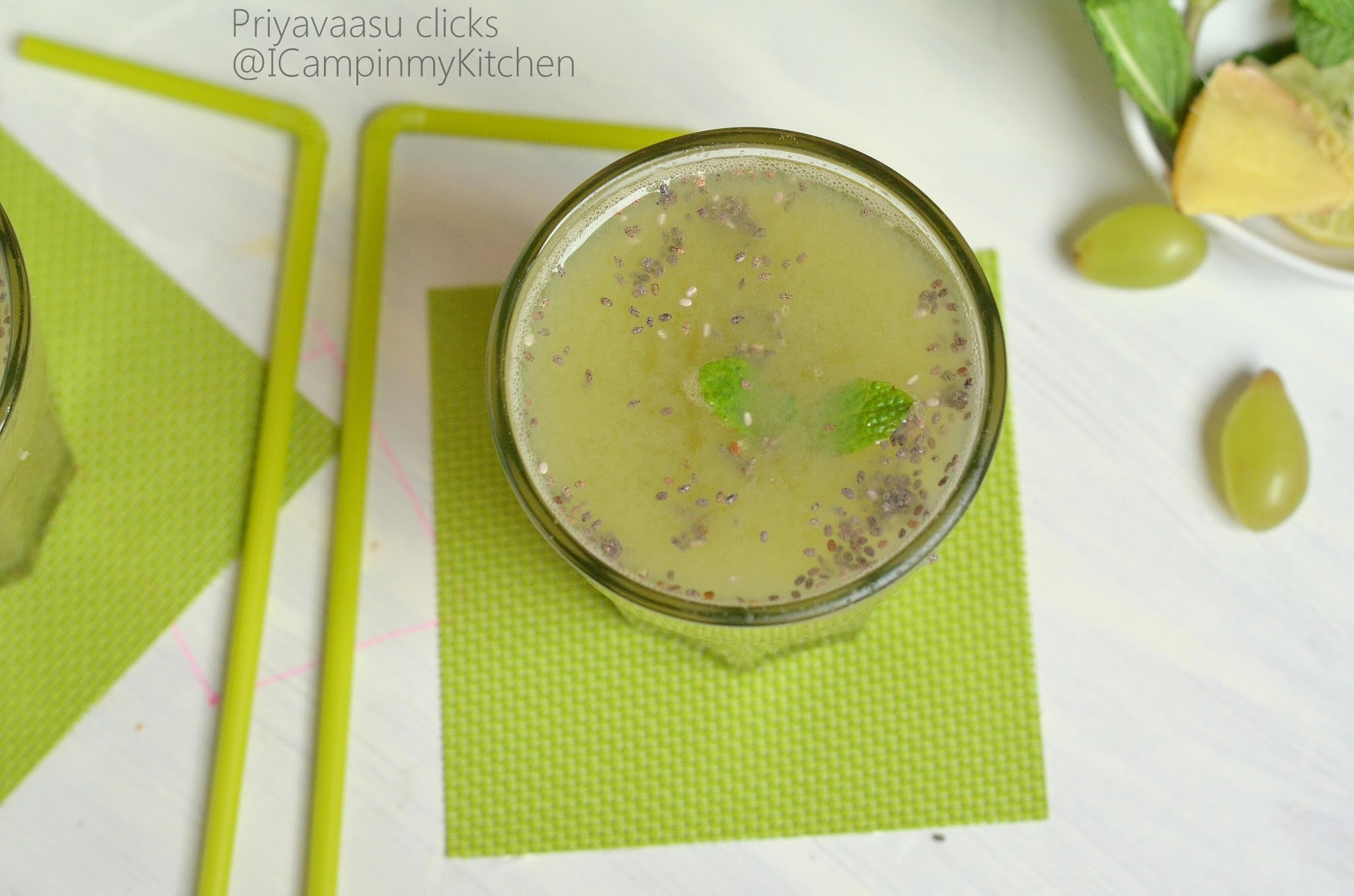 Green Grapes Juice - With Ginger & Chia seeds