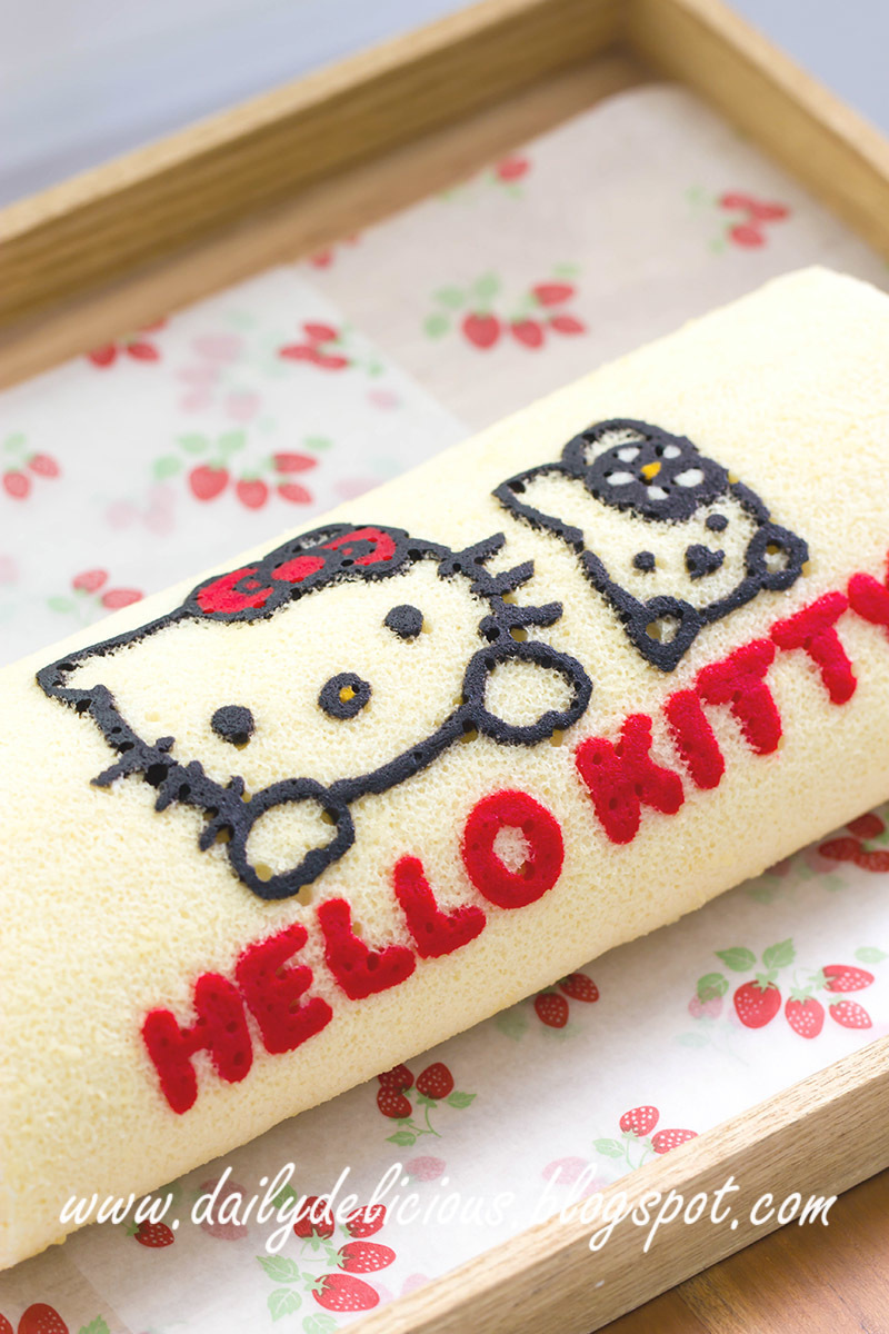 Image: dailydelicious: Hello Kitty Rolled Cake: Cute rolled cake